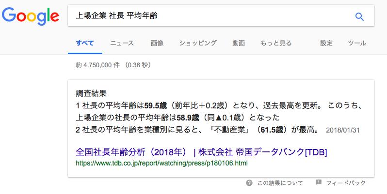 社長の平均年令平成30年9月8日