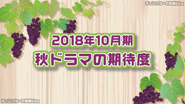 2018年10月期 / 秋ドラマの期待度