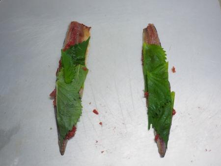 塩サンマ梅肉大葉巻き焼き035