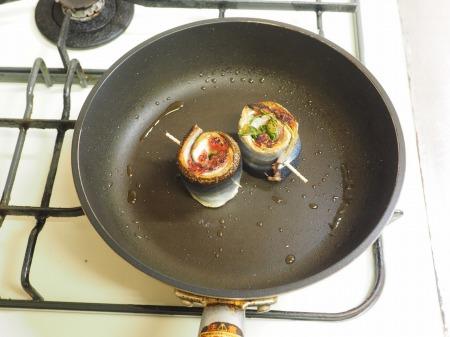 塩サンマ梅肉大葉巻き焼き039