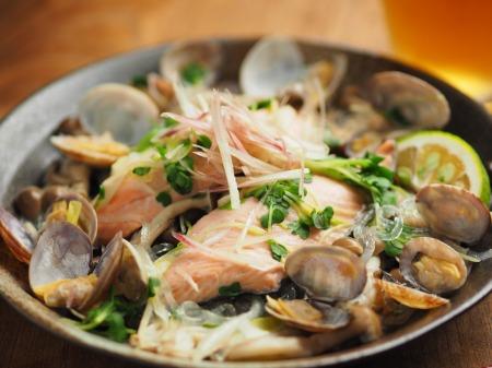 鮭とあさりのフライパン酒蒸し019