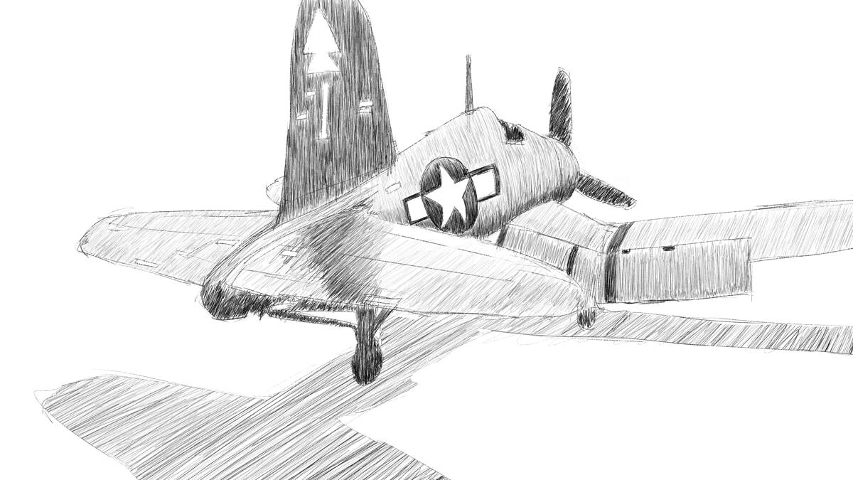 タミヤの傑作機シリーズ No.061 アメリカ軍 F4U-1D コルセアのスケッチに描き込む