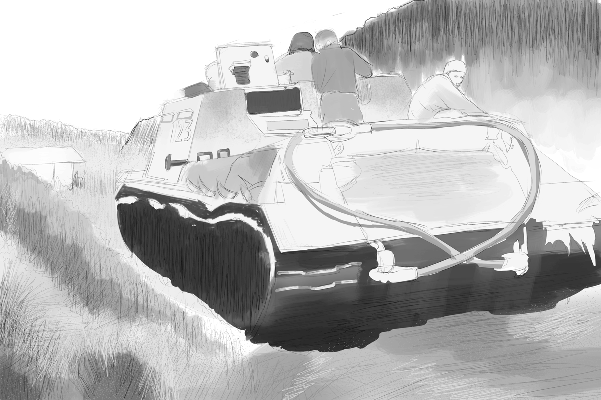 JSU-152重自走砲の戦場写真を模写