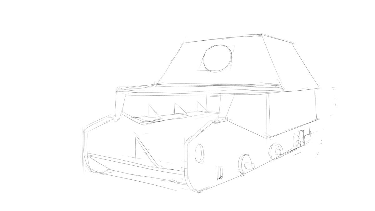 ドラゴンのプラモ  DR6133 ドイツ軍 フェルディナント 重駆逐戦車をスケッチ その2