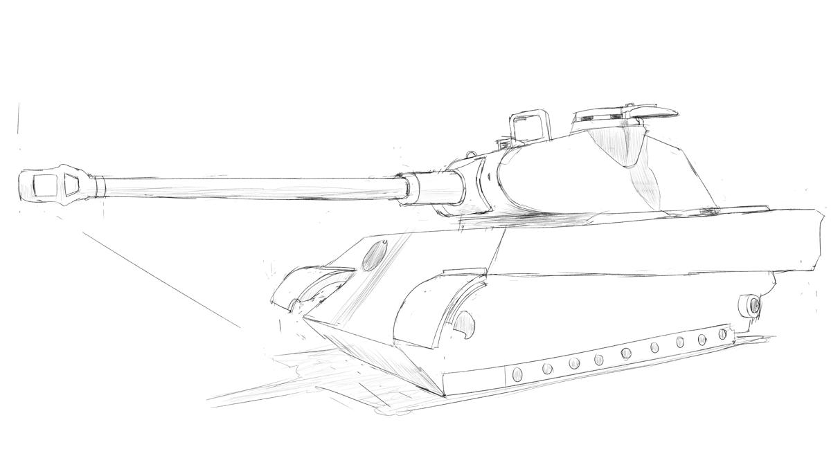 ケーニヒスティーガー戦車 スケッチ