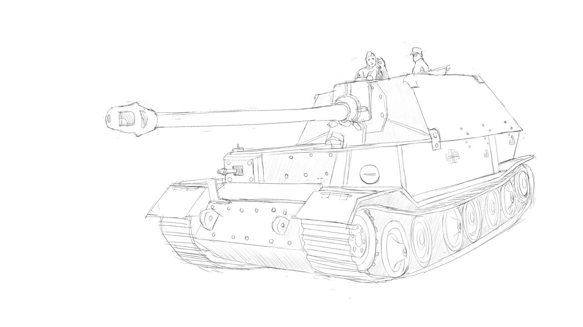 タミヤのミリタリーミニチュアシリーズ  No.325 ドイツ駆逐戦車 エレファントをスケッチ その1