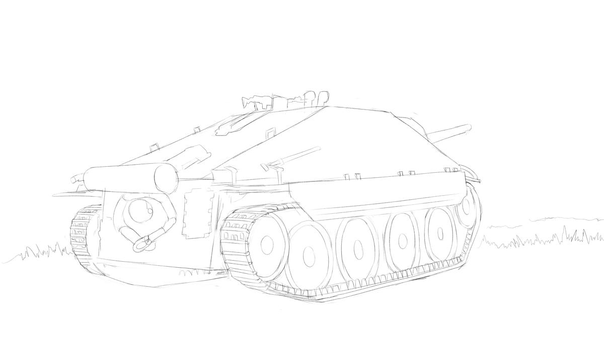 タミヤのミリタリーミニチュアシリーズ  No.285 ドイツ駆逐戦車 ヘッツアー 中期生産型をスケッチ その1