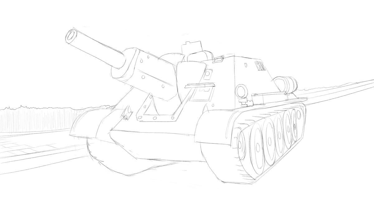 SU-122自走砲のプラモの写真をスケッチをベタ塗り