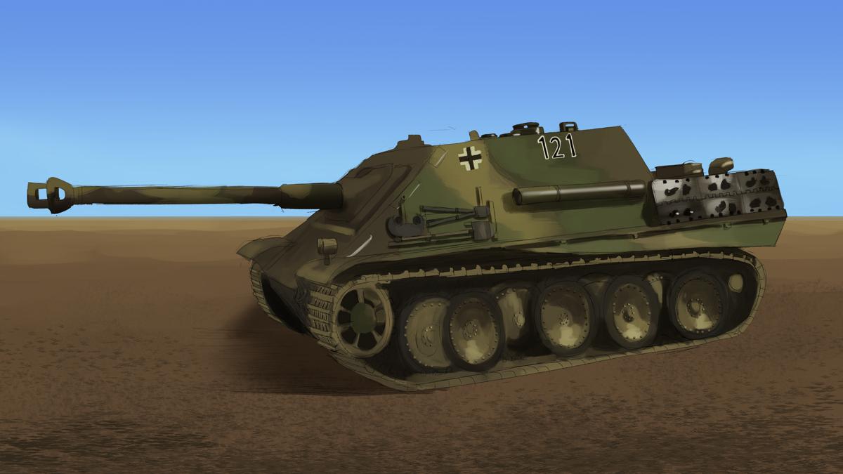 タミヤのミリタリーミニチュアシリーズ  No.203 ドイツ駆逐戦車 ヤークトパンサー 後期型をスケッチ その1