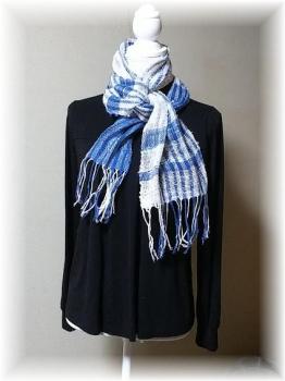 手紡ぎ綿糸のマフラー1