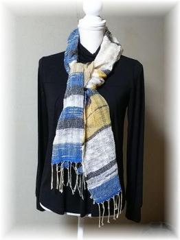 手紡ぎ綿糸のマフラー2