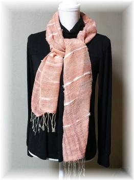 手紡ぎ綿糸のマフラー3