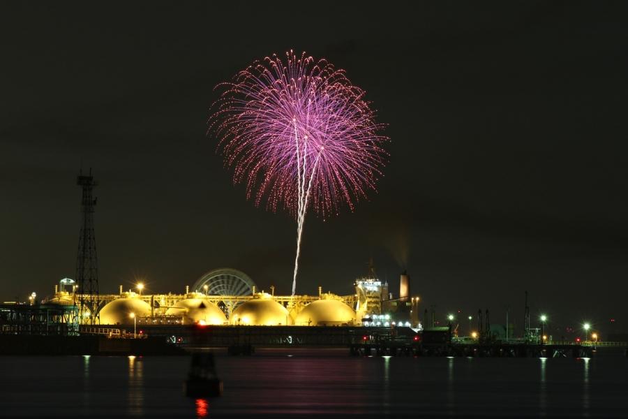 2018-8-25四日市コンビナート夜景と長島花火T84A9471