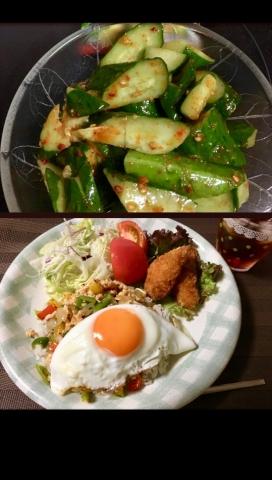 韓国風たたききゅうり&ガパオ
