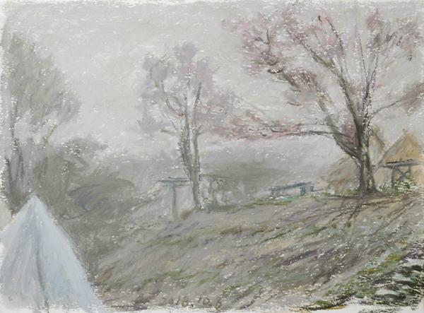 野営場 霧の朝