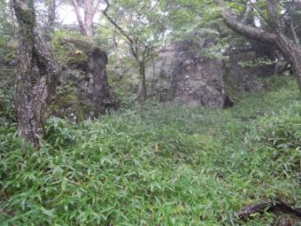 編笠山へ登山道少し岩が多くなってくる