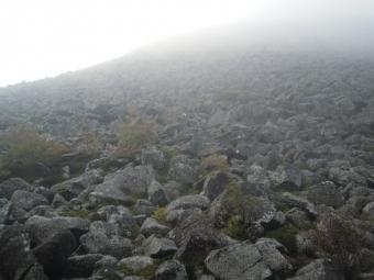 編笠山から降りて来た道、石ゴロゴロ頃滑って慎重に、次の朝移したもの180915
