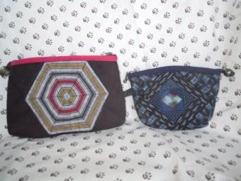 縞木綿で六角形縫い付け、ペーパーピーシング縫い付け181009