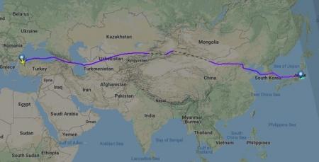 イスタンブールから成田への飛行ルート