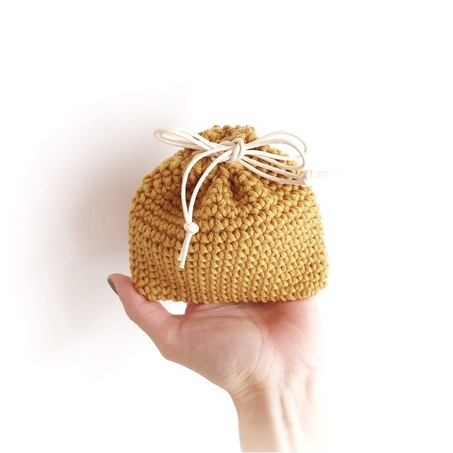 手編み雑貨 HanahanD 冬の巾着袋 カシミヤ バッグ整理