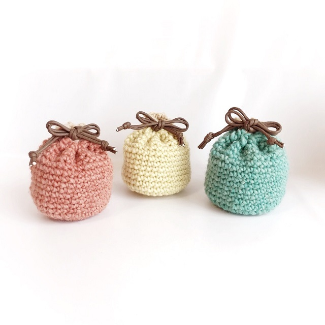 手編み雑貨 HanahanD 巾着 巾着袋 冬小物 パステルカラー