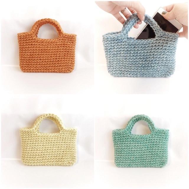 手編み雑貨 HanahanD 冬 スマホバッグ スマホケース iPhone アイフォンケース