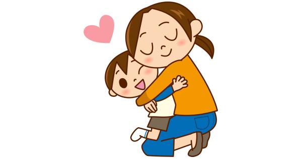 男の子をギュッと抱きしめているお母さん