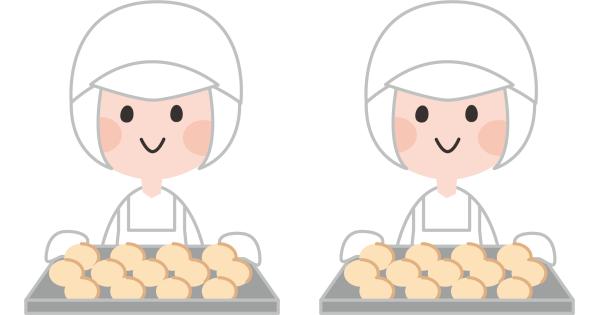 調理服を身を包んでパン製造をしている生徒たち