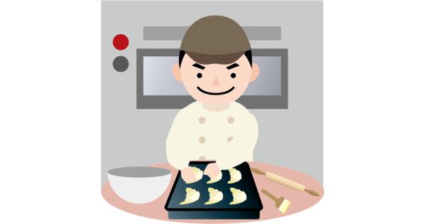 パンを製造している生徒