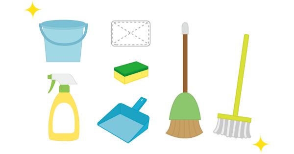ピカピカに手入れされている清掃道具