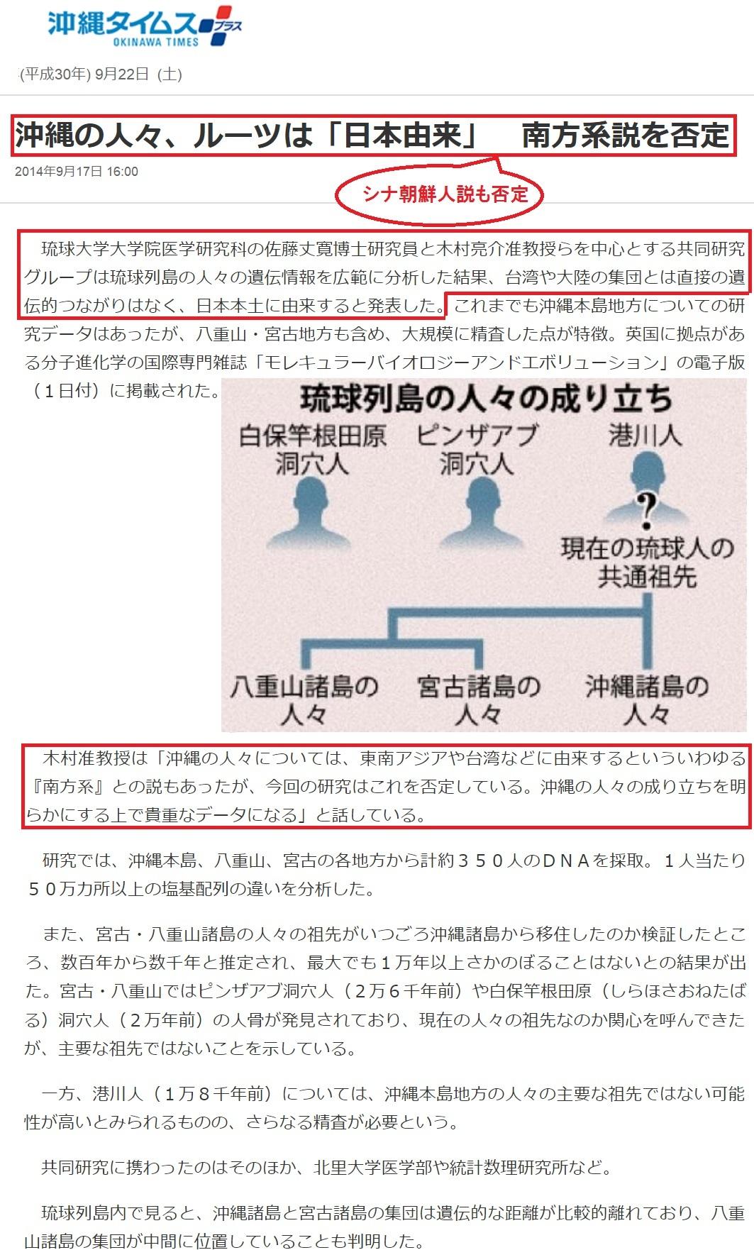 沖縄県民のルーツは日本 大陸人説や南方系説を否定