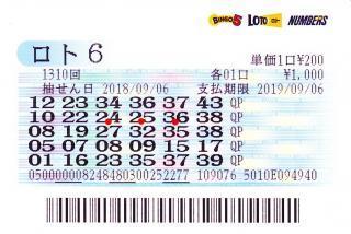 ロト6 第1310回赤