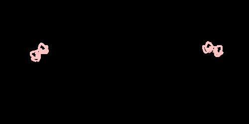 手書き飾りリボン黒桃