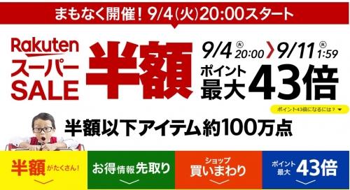 楽天スーパーSALE 本日9月4日(火)
