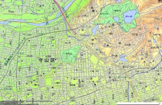 小幡緑地陸軍標柱今昔マップ2014