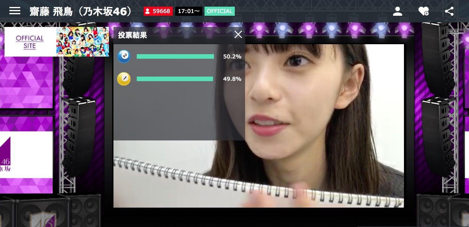 のぎおび⊿選手権「50%を目指そう」齋藤飛鳥