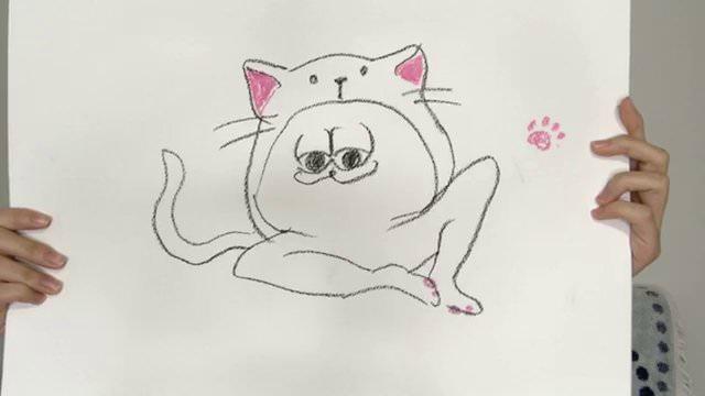のぎおび⊿ 西野七瀬が描いた「ネコの着ぐるみを着たどいやさん」