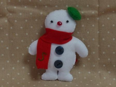 フェルトのマスコット 雪だるま 1