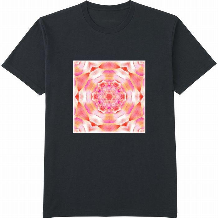 カレイドスコープオレンジ&ピンク_mirror4_rgbの度合いフェードアウト‗Tシャツドライカラークルーネック黒