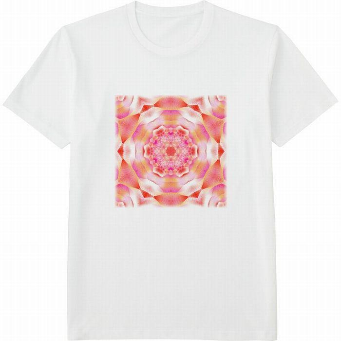 カレイドスコープオレンジ&ピンク_mirror4_rgbの度合いフェードアウト‗Tシャツドライカラークルーネック白