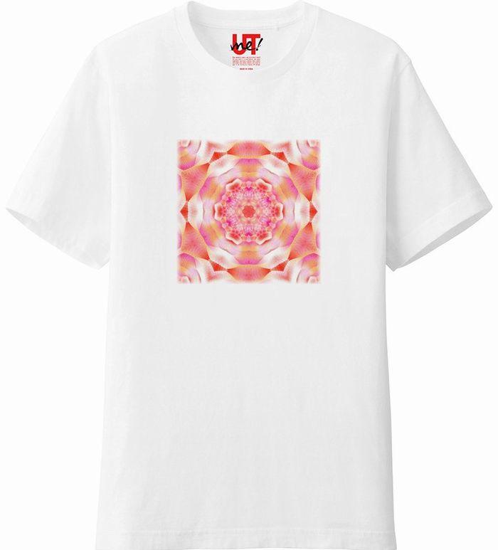 カレイドスコープオレンジ&ピンク_mirror4_rgbの度合いフェードアウト‗Tシャツベーシック白