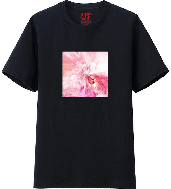 フラワーピンク_mirror4_rgb‗Tシャツベーシック黒
