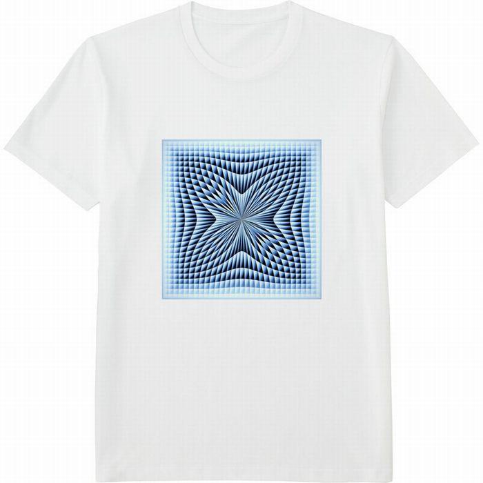 ブラインドチェックつまむ180117 (3)コントラスト‗Tシャツドライカラークルーネック白