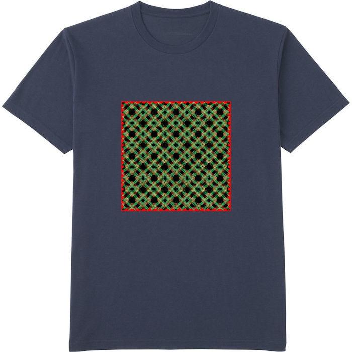 チェック333ヒストグラム_エッジの光彩_エンベロープ‗Tシャツドライカラークルーネックネイビー