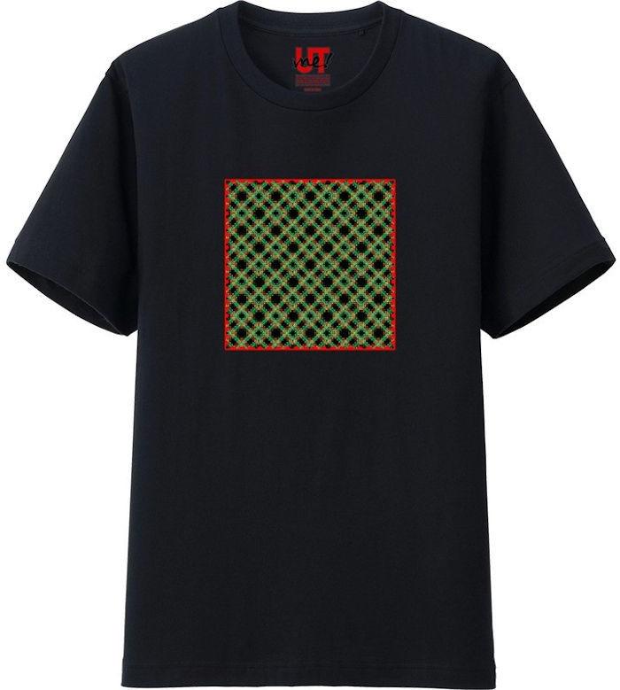 チェック333ヒストグラム_エッジの光彩_エンベロープ‗Tシャツベーシック黒