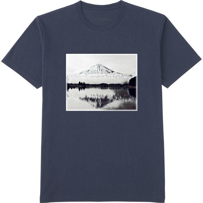 ふじさん1モノクロ_トリミング_ミラー‗Tシャツドライカラークルーネック紺