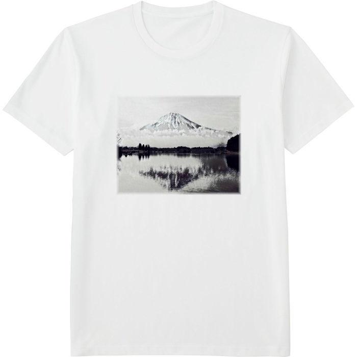 ふじさん1モノクロ_トリミング_ミラー‗Tシャツドライカラークルーネック白