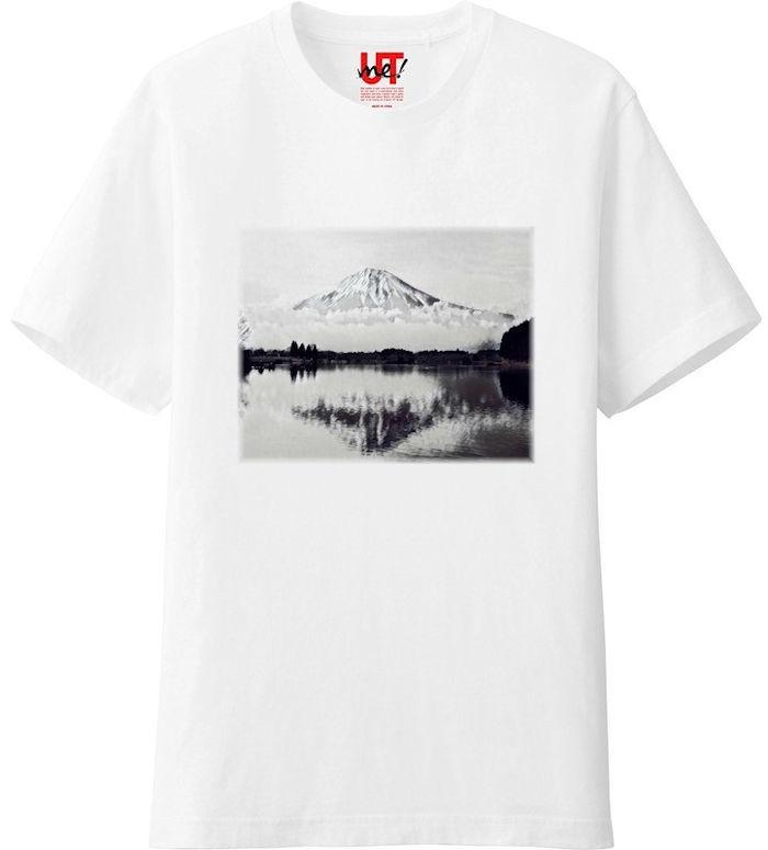 ふじさん1モノクロ_トリミング_ミラー‗Tシャツベーシック白