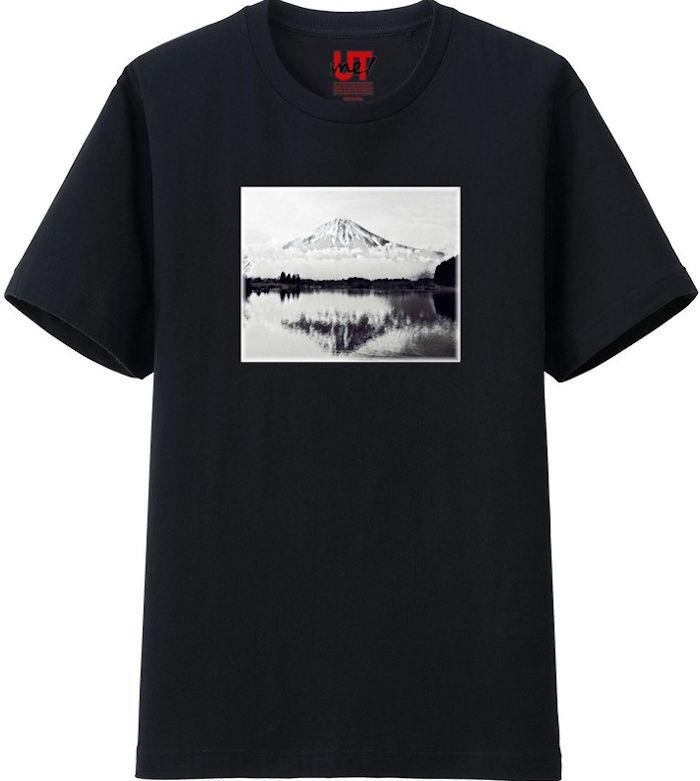 ふじさん1モノクロ_トリミング_ミラー‗Tシャツベーシック黒