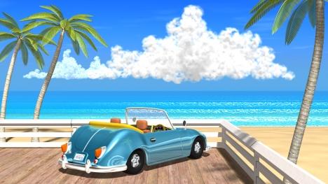 3DCG夏の海と椰子の木と車1